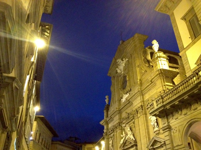 6:49. Blue sky in via de' Tornabuoni, famous for its high end shops.