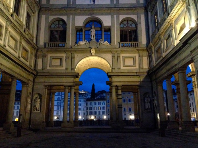 7:01. Pillars and arcs of Galleria degli Uffizi, opening the views of the other side of river Arno.
