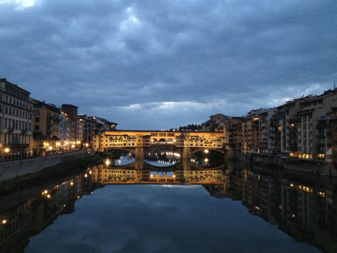 """7:08. This was the most beautiful and magical moment of all. Meeting the sunrise over the river Arno I'd definitely put on the list of """"Top things to do in Florence""""! You just stand, admire and don't want anything else in life…"""