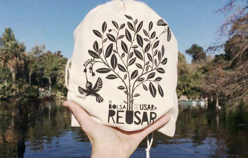 Bolsa para comprar granos de algodón ecológico hecha en Barcelona