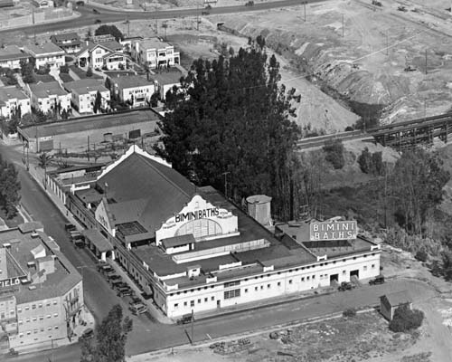 Undated Aerial Photo - probably about 1920.  The Bimini Baths are in the center. Bimini Place (street) is on the left, and Sacatela Creek is on the right.
