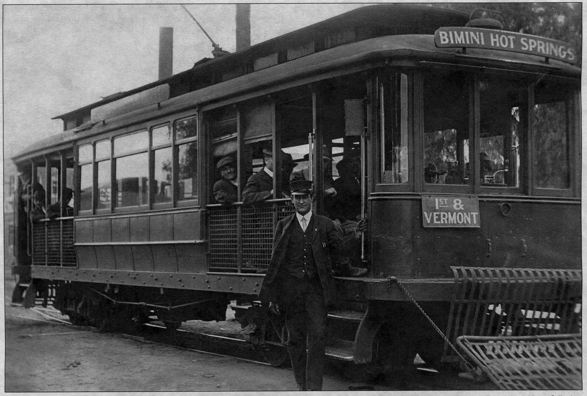 Undated photo of the streetcar headed for the Bimini Hot Springs. Photo from the Henry E. Huntington Library Collection, appeared in the Los Angeles Railroad Heritage Foundation Journal winter 2008/2009