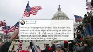Moscú arremete contra Washington por apoyar protestas no autorizadas en Rusia