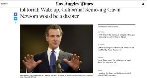 El periódico Los Angeles Times respalda al gobernador Newsom ante la elección de revocación de mandato