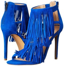 summer heels + summer sandals + blue high heel sandal + blue fringed high heel sandal + Steve Madden Women's Fringly Dress Sandal