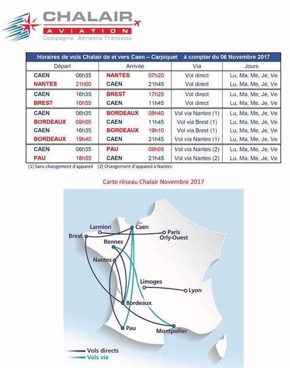 Chalair reliera Caen à Brest et Nantes