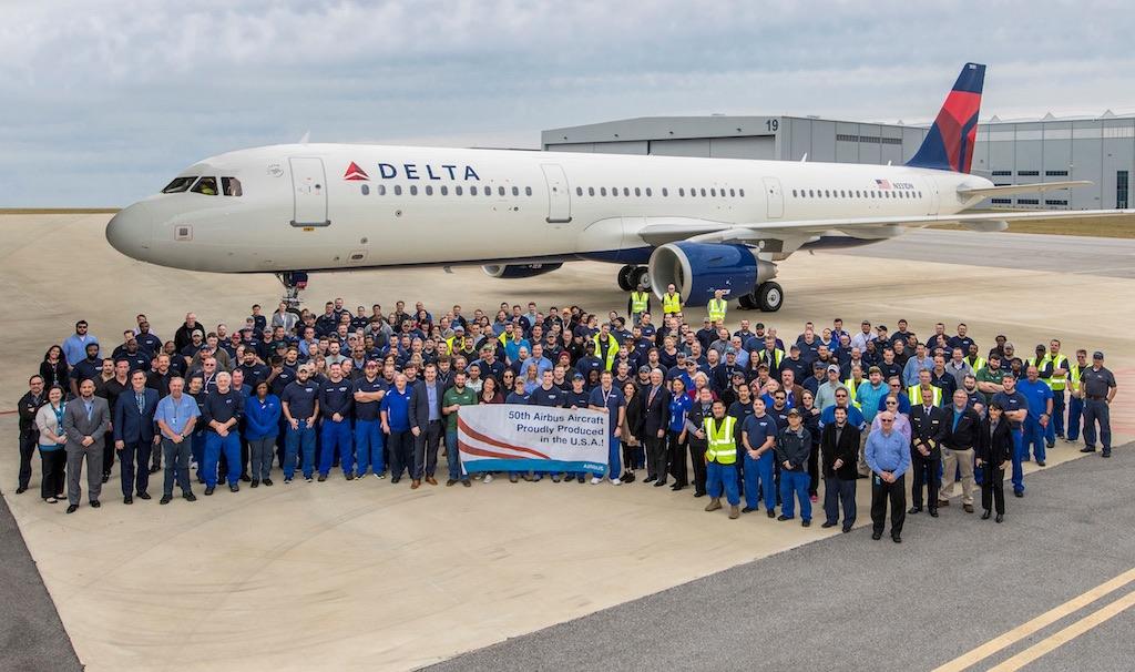 Delta reçoit le 50e Airbus produit aux États-Unis