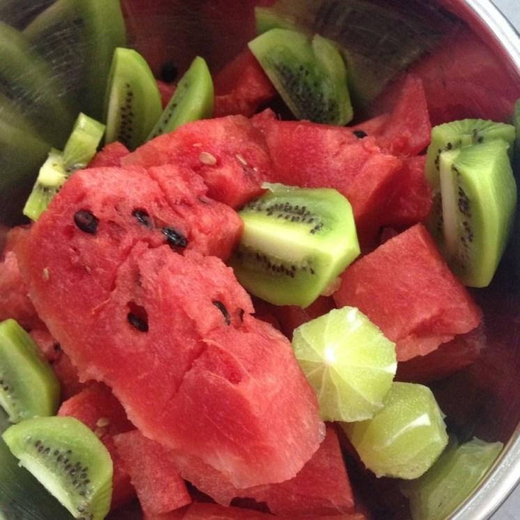 jugo de sandia, kiwi, chia
