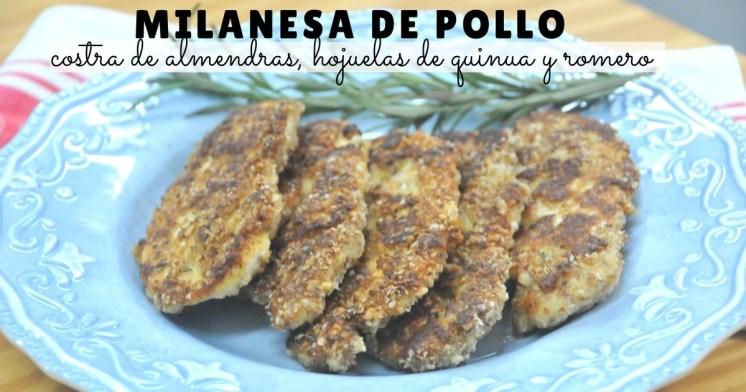 Milanesa de pollo con costra de hojuelas de quinua, almendras y romero