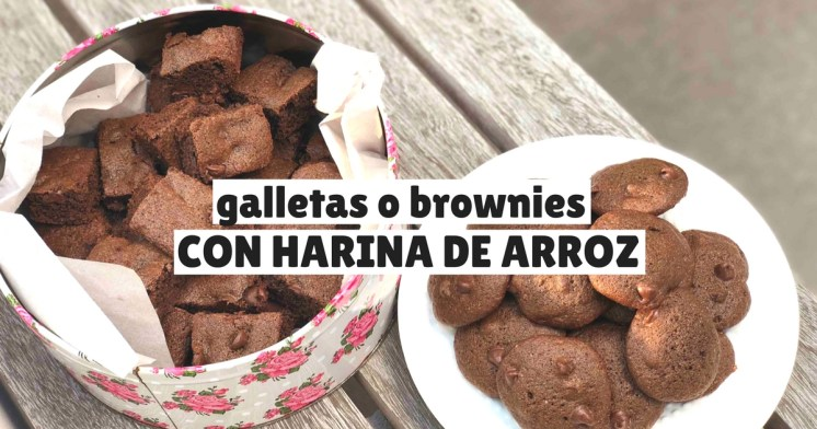 Brownies y galletas de chocolate con harina de arroz