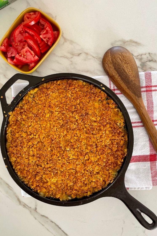 Pastel de espinaca crocante con Corn Flakes