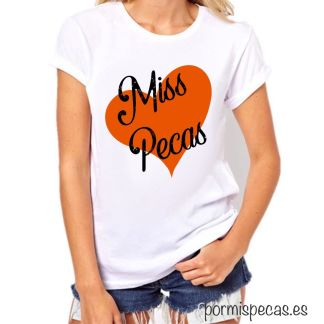 camiseta ilustrada miss pecas personalizada pecas pelirroja camiseta corazon naranja compra segura paypal camisetas bonitas con mensajes
