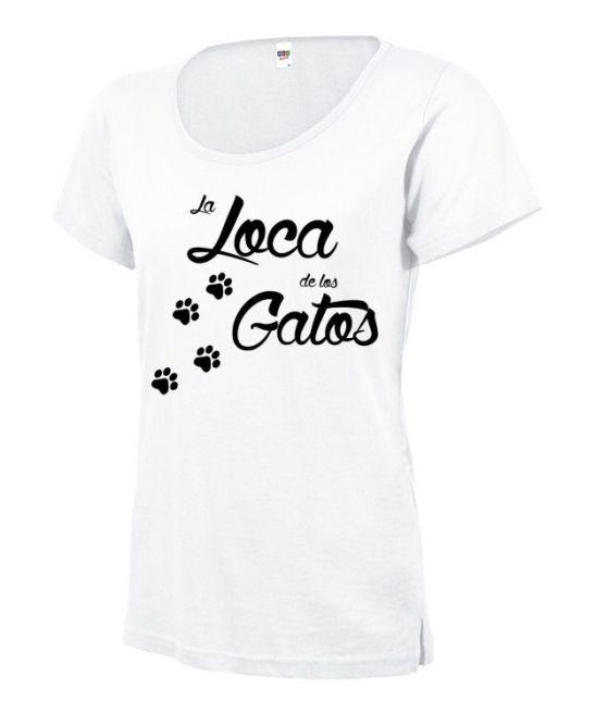 Loca delos gatos camisetamujer manga corta blanca entallada