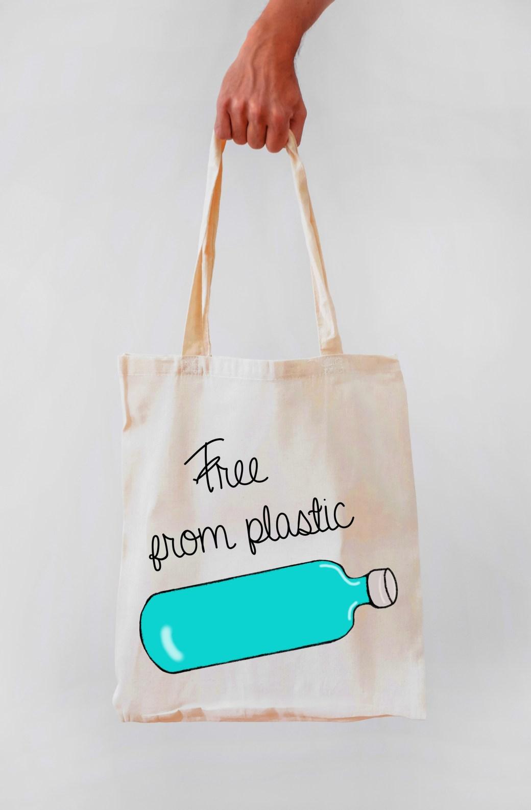 bolsa de tela ecologica free form plastic negro, crudo. eco cotton bag . para la compra ecologica.
