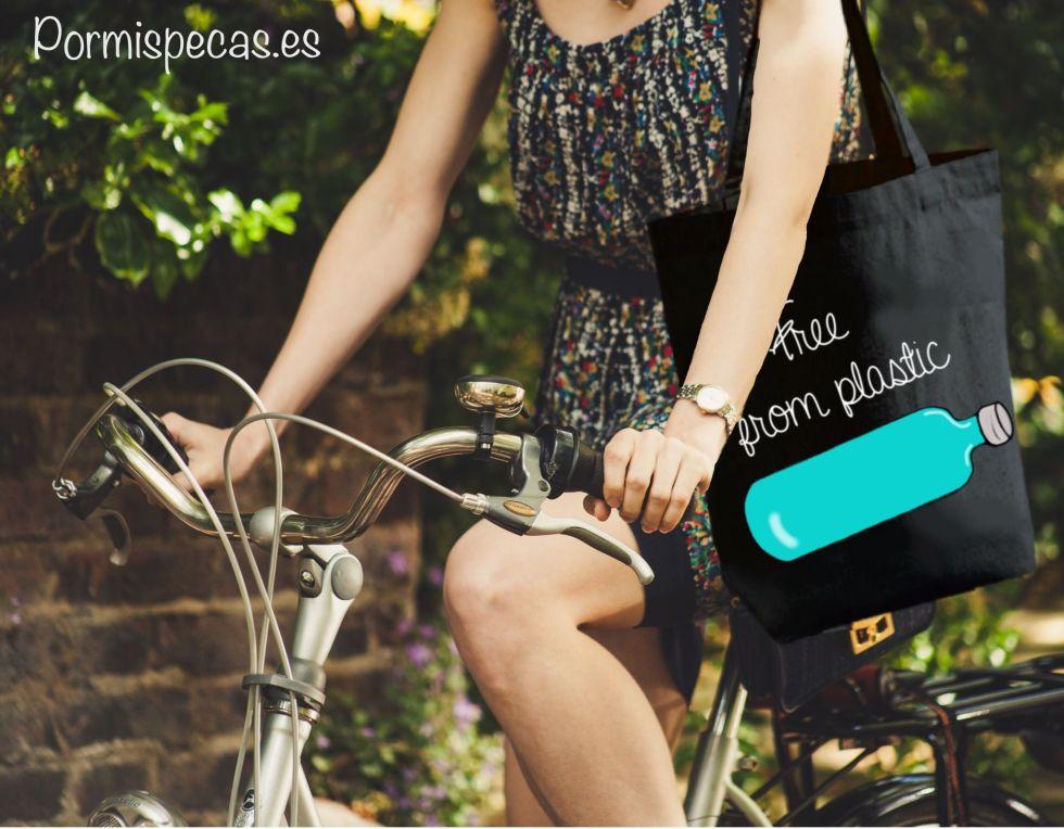 free from plastic cotton bag bolsa de tela ecologica para la compra ilustracion