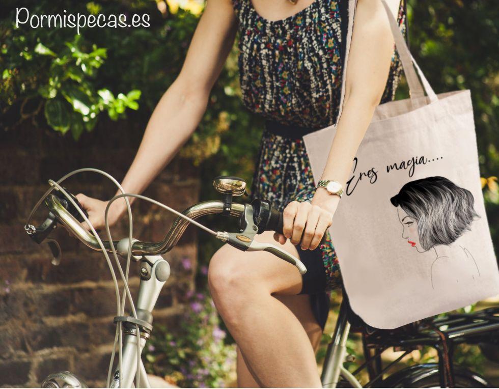 tote bag organico algodon ecologico chica magia bolsa de tela