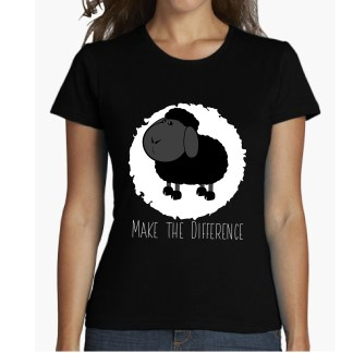 make tjhe difference camiseta chica oveja negra haz la differencia outfit camisetas baratas camisetas ilustradas camisetas bonitas comprar camisetas, camiseta oveja negra black sheep ropa de mujer ropa de chica ropa juvenil onlne