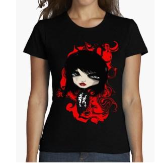 GOTIKA camiseta chica mujer manga corta algodón 100 % ilustracion mundo oscuro dark shirt for woman gotik