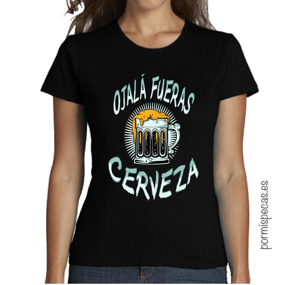 OJALA FUERAS CERVEZA CAMISETA mujer chica humor chico negra basica camisetas divertidas camisetas biker