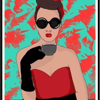 Lamina print coffee girl retro posters cuadros decoracion hogar vintage cafe deco home casa pictures tienda online