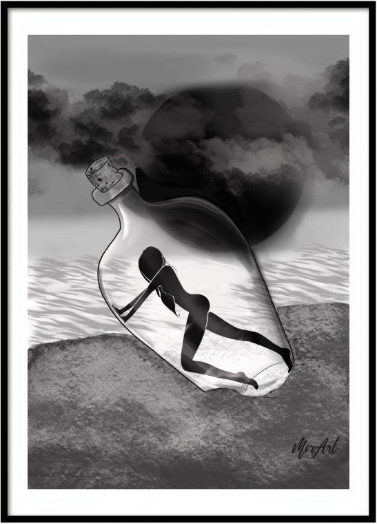 El mensaje eres tu chica en una botella playa blanco y negro lamina print cuadro decoracion hogar ilustracones divertidas frescas decora tu vida decora tu espacio