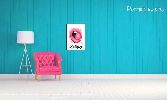 lamina pop art LOLLIPOP labios fucsia pink rosa retro chupachups ilustracion retro comic girl chica dormida decoracion casa hogar cuadros laminas prints para decorar