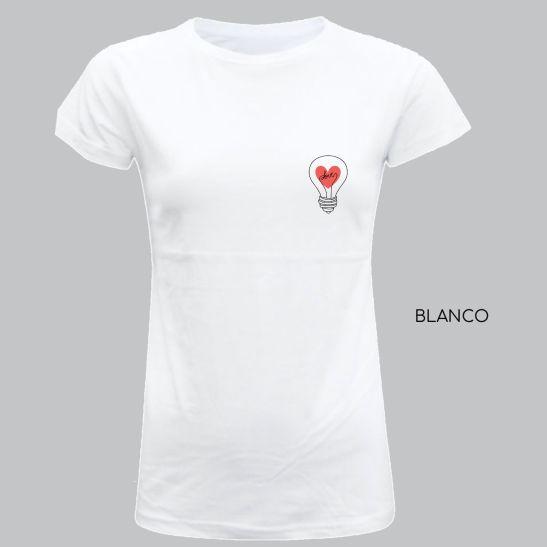 bombilla idea love camiseta para mujer original minimalista
