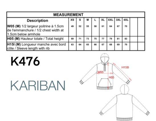 k476tabla de tallas medidas