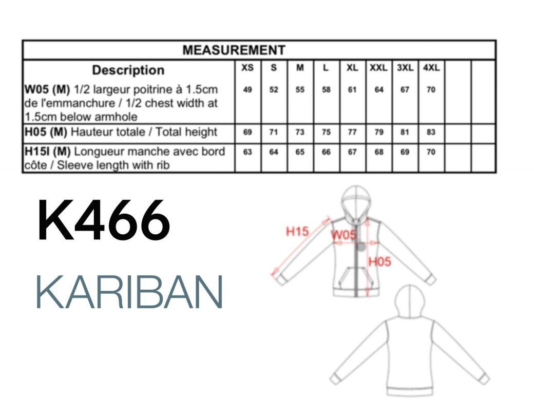 k466 tabla de tallas medidas