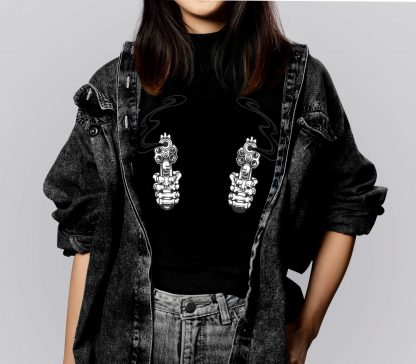camiseta mujer pistola guns negra camisetas cañeras camisetas guais camisetas de mujer moda mujer camisetas basicas