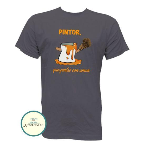 camiseta pintor original humor para hombre en varios colores de algodon y manga corta
