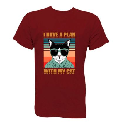 camiseta friki chico humor i have a plan with my cat manga corta basica