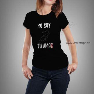 yo soy tu amor gato camiseta humor mujer manga corta algodon camisetas divertidas