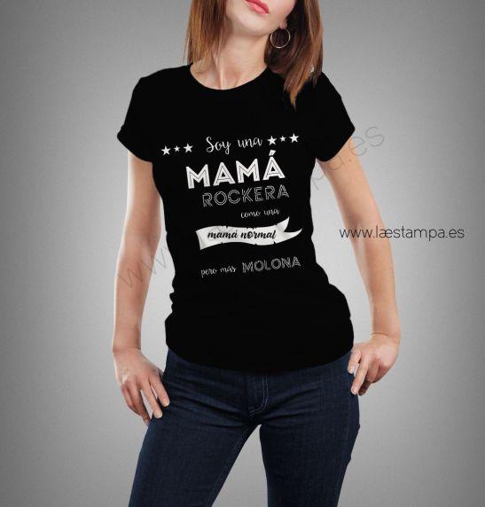 mama rockera camiseta original mujer