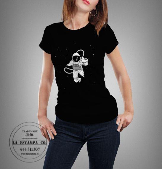 camiseta astronauta para mujer manga corta color negro moda mujer