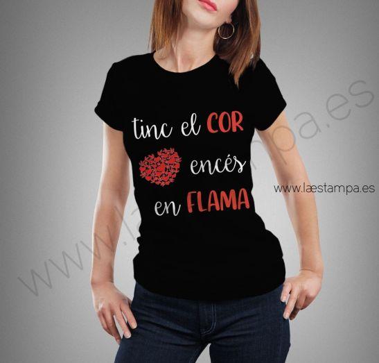 camiseta mujer fallas tinc el cor ences en flames falles