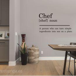 vinilo chef negro diccionario significado para cocina decoracion