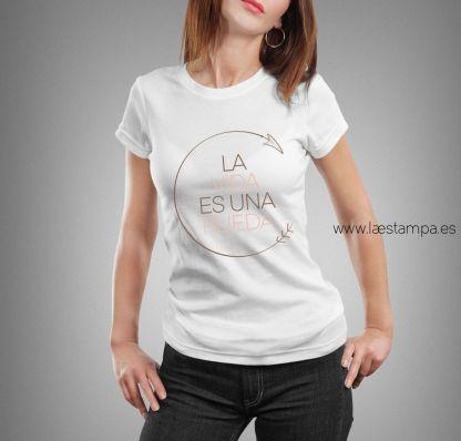 camiseta mensaje la vida es una rueda regular fit