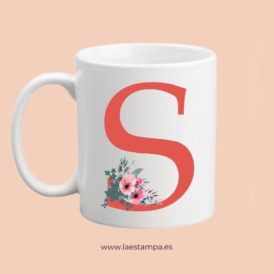 taza personalizada inicial letras nombres motivo floral