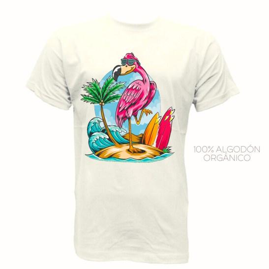 camiseta hombre mujer unisex cool tropical flamingo algodón orgánico