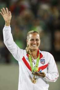 BARRA DA TIJUCA, RIO DE JANEIRO, BRAZIL AUGUST 13th: Monica Puig of Puerto Rico during awards ceremony of the women's final tennis as part of the Olympic Games held in Olympic Tennis centre in Barra Da Tijuca, Rio de Janeiro, Brazil. (PHOTO BY VICTOR STRAFFON/STRAFFON IMAGES/MANDATORY CREDIT/EDITORIAL USER/NOT FOR SALE/NOT ARCHIVE)