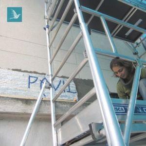 pose de la mosaïque du pavillon Corot à Port Marly, octobre 2013