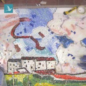 réalisation de la mosaïque en atelier, avant la pose à Port Marly