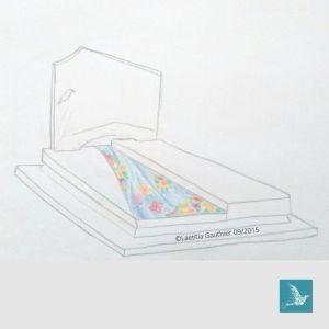 projet de tombe décorée en mosaïque, rivière et fleurs, par Laetitia Gauthier