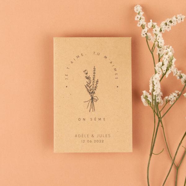 cadeau invité bouquet champêtre minimaliste