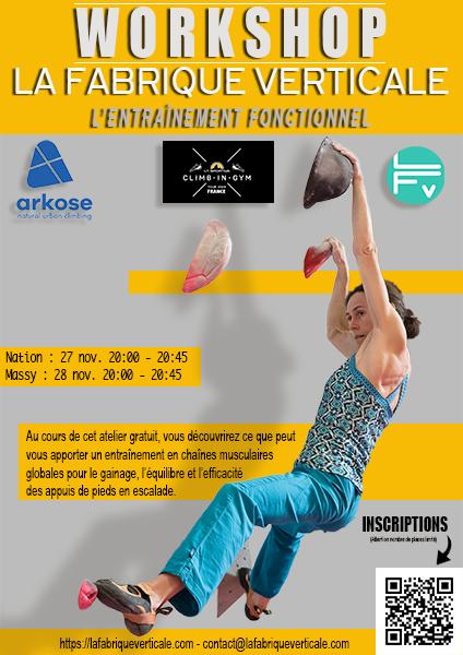 Affiche workshop laspo-site-entrainement-fonctionnel-escalade-gainage-travail-chaines-musculaire-grimper-progresser-arkose-bloc-climbingym