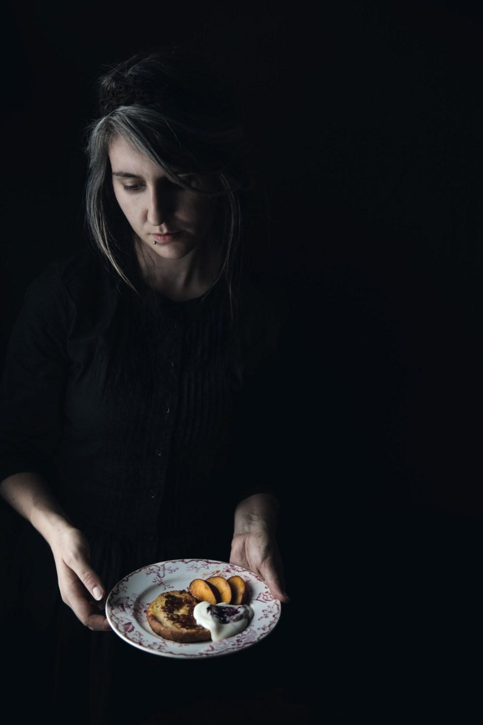 Pain perdu, crème mascarpone et brugnons