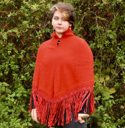 Fire red alpaca wool poncho with handmade macrame