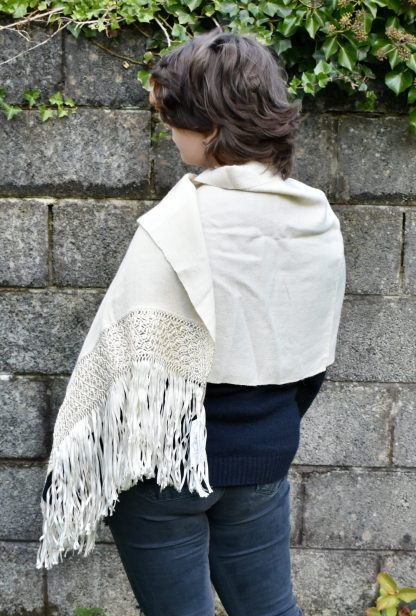 white alpaca wool shawl with macrame back