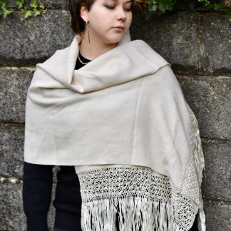 white alpaca wool shawl with macrame